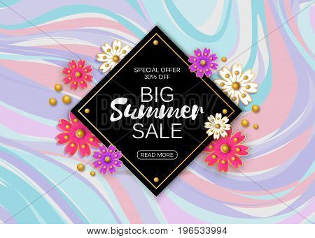 Summer sale background layout for banners, Wallpaper, flyers, invitation, posters, brochure, voucher discount. Vector illustration template. Marble backdrop