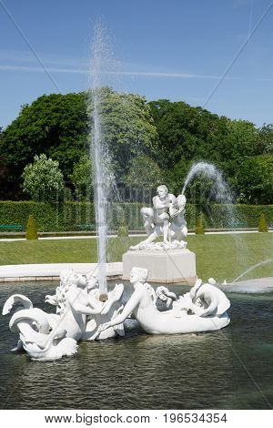 Statue And Fountain At The Belvedere Palace, Vienna, Austria