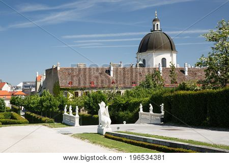 Garden Of Belvedere Palace And The Salesianer Church In Vienna