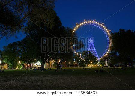 Prater Park And Ferris Wheel At Night. Vienna, Austria
