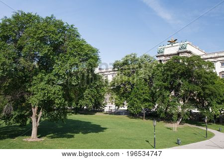 Park Area In Front Of The Neue Burg (new Castle), Part Of Hofburg Imperial Palace In Vienna