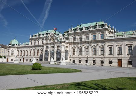 Vienna, Austria. Beautiful View Of Famous Schloss Belvedere Summer Residence For Prince Eugene Of Sa