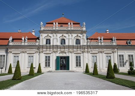The Front Facade Of Lower Belvedere Palace And The Garden At Day Time, Vienna