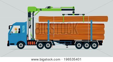 Truck carrying trunk of tree on truck using lifting tool.