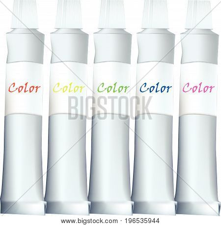 Vector tubes with paint for painting art