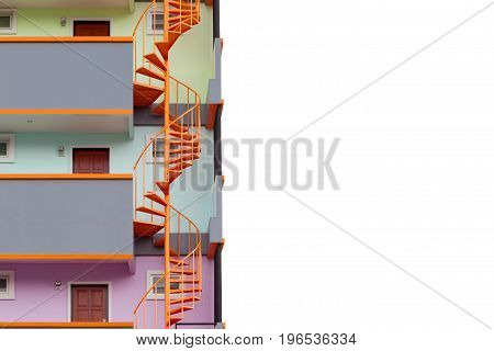 Spiral staircase of modern apartment living building