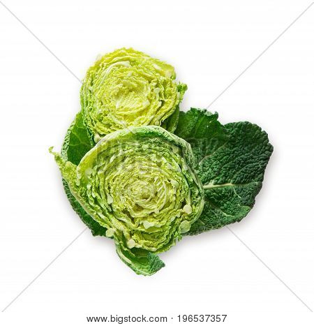 Fresh chinese cabbage cut in half. Natural organic vegetable isolated at white background