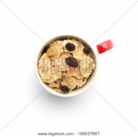whole grain cereal flakes which mixed berry fruit and raisins for breakfast isolaed on white background