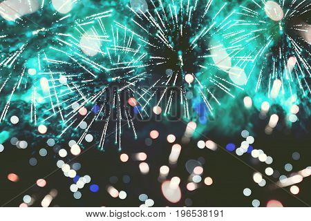 Abstract background. Fireworks circle blur. Colorful in celebration