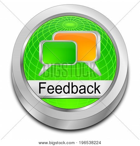 glossy green Feedback button - 3D illustration