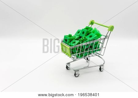 Green Shopping Cart With Green 3D Puzzle Inside