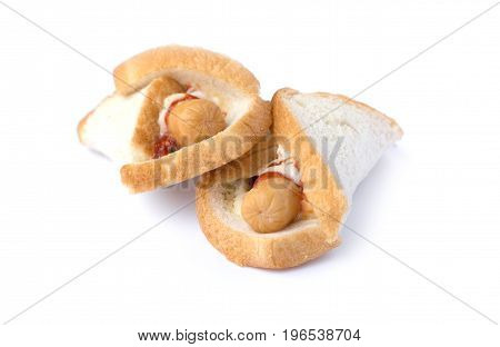 sandwich sausage with ketchup isolated on white background