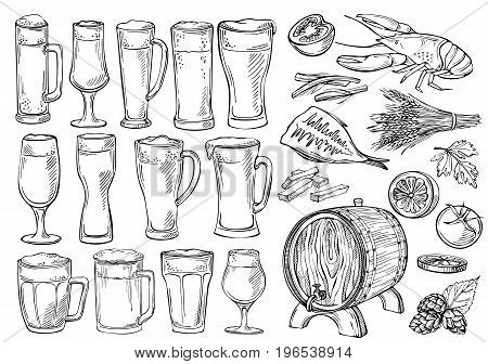 Beer glasses and mugs. Sketch set of beer glasses and mugs in ink hand drawn style.Set of beer objects. Hand drawing