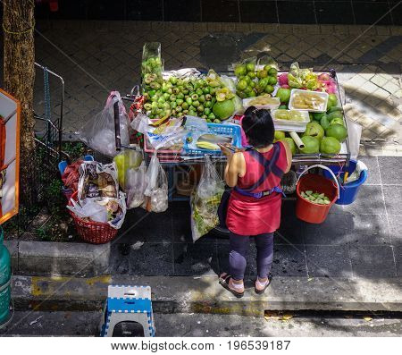 Vendor On Street In Bangkok, Thailand