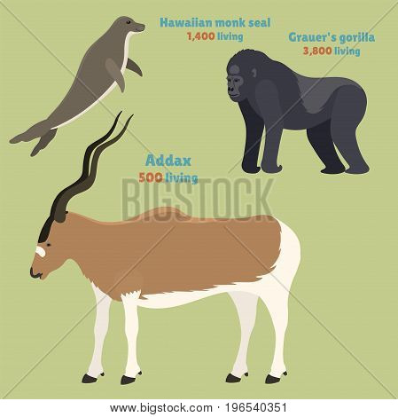 Gorila monkey rare animal vector monk and addax. Cartoon macaque nature primate character. Wild zoo ape chimpanzee endangered species. Wildlife jungle animal mammal.