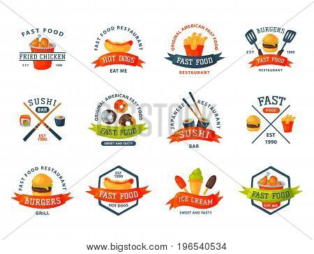 Colorful cartoon fast food logo isolated restaurant tasty american cheeseburger badge meat and unhealthy burger meal vector illustration. Junk drink snack french fried dinner eating.