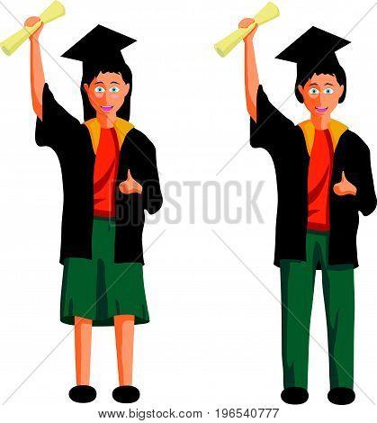 Scholarship concept - I love reading Illustration. Diploma graduating happy students.