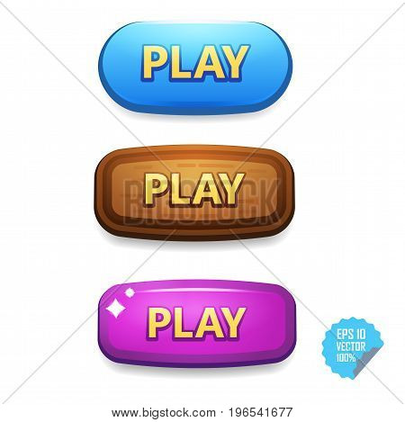 Colorful Buttons With Play Tittle. Bright Vector Buttons For Web And Mobile.