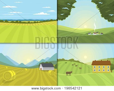 Village landscapes vector illustration farm field and houses agriculture graphic country side. Grunge farmhouse outdoor road season scene horizon organic scenic antique drawing.