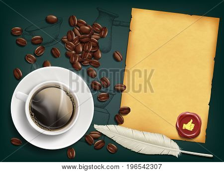 Cup with a coffee and beans on the table. Retro background for food and drinks. Stock vector illustration.