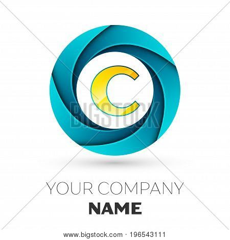 Realistic Letter C vector logo symbol in the colorful circle on white background. Vector template for your design