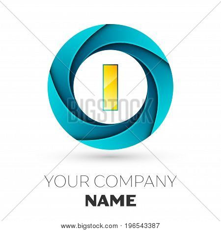Realistic Letter I vector logo symbol in the colorful circle on white background. Vector template for your design