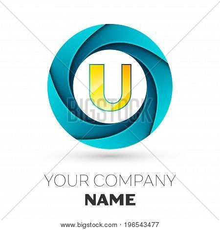 Realistic Letter U vector logo symbol in the colorful circle on white background. Vector template for your design