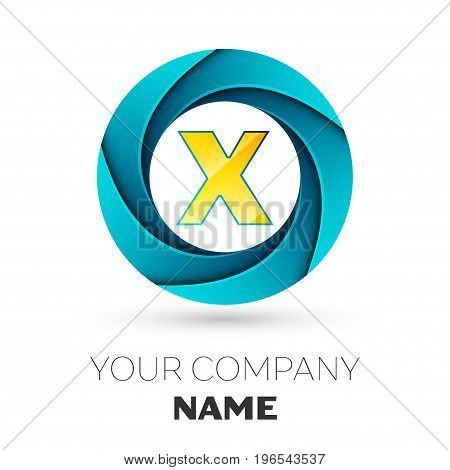 Realistic Letter X vector logo symbol in the colorful circle on white background. Vector template for your design