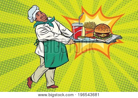 African chef brings a tray of fast food. Pop art retro comic book vector illustration