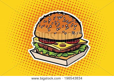 Burger pop art illustration. Pop art retro comic book vector illustration