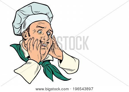 male cook scared gesture. Pop art retro comic book vector illustration