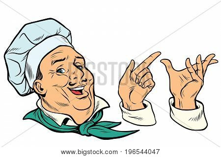 set French or Italian cook and hand gestures. Pop art retro comic book vector illustration