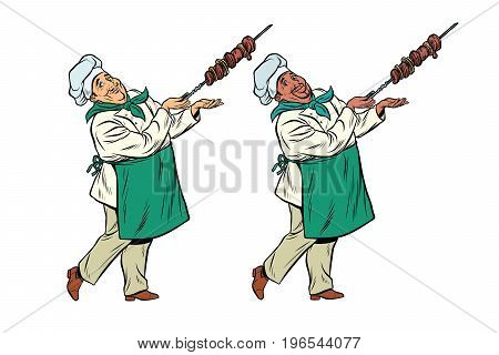 African and Caucasian chef with a shish kebab. Pop art retro comic book vector illustration