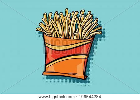 French fries fast food. Pop art retro comic book vector illustration