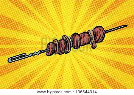 shashlik shish kebab skewer barbecue hot food. Pop art retro comic book vector illustration