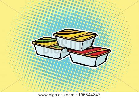 packing fast food sauce. Pop art retro comic book vector illustration