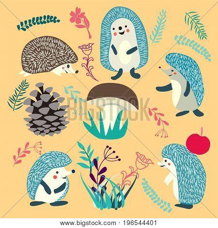 Vector hedgehog cute. Cute Hedgehog forest animals set illustration