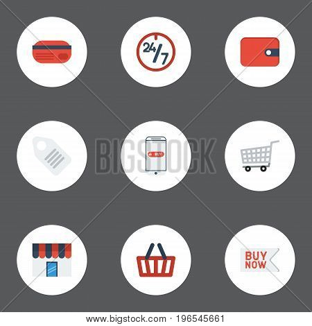 Flat Icons Support, Label, Buy Now And Other Vector Elements