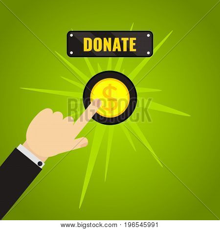 Man pressing donate button. Giving money, fundraising business concept. Financial contribution to charity online. Internet banking, mobile payments. Touch, push or press symbol. Vector illustration.