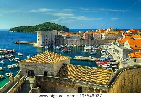Spectacular Dubrovnik fortress panorama and harbor with boats and luxury yachtsDalmatiaCroatiaEurope