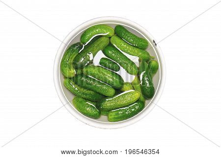 Fresh green cucumbers in a bowl of water - food isolated object on white