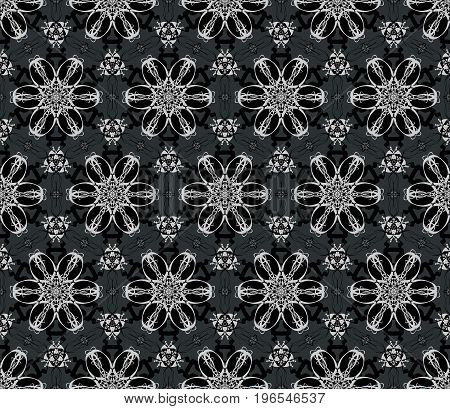 This black and white floral seamless pattern is on a dark gray background. The large illustration can be piece together to make it the size you need it to be.