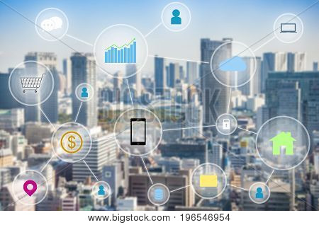 Internet of things connection link between people location cloud mobility database laptop banking internet online shopping smart phone tablet home e-mail message security and other devices with city tower background in future business and technology conce