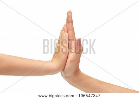 Hand Of Young Girl And Kids Hand Gesture, Shows High Five. Isolated On White Background