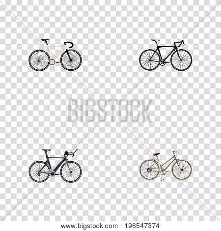 Realistic For Girl, Road Velocity, Competition Bicycle And Other Vector Elements