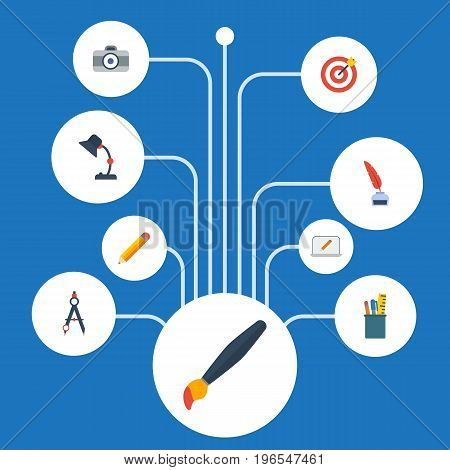 Flat Icons Pen, Compass, Pencil And Other Vector Elements