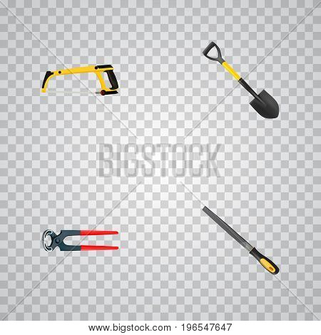 Realistic Arm-Saw, Tongs, Spade And Other Vector Elements
