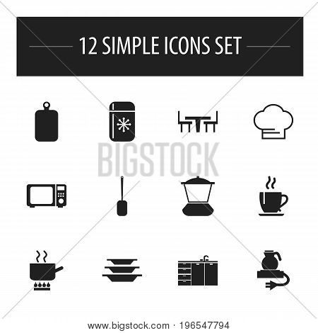 Set Of 12 Editable Cooking Icons. Includes Symbols Such As Coffee, Electric Kettle, Cutting Surface And More