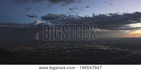 A Thunderstorm at Dusk Approaches the City of Albuquerque New Mexico