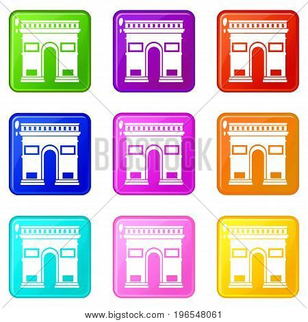 Triumphal arch icons of 9 color set isolated vector illustration